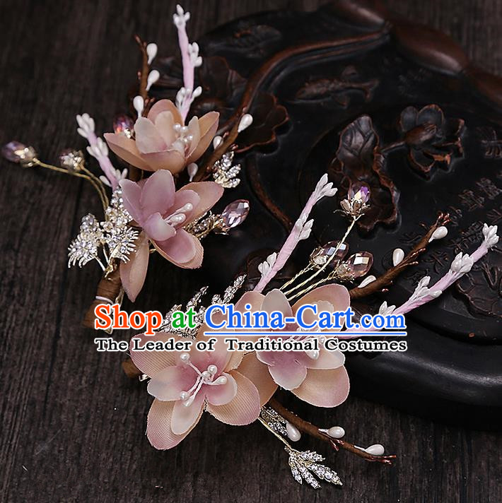 Top Grade Handmade Wedding Hair Accessories Bride Pink Flower Hair Clip, Traditional Baroque Princess Hair Claw Headpiece for Women