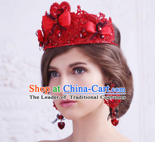 Top Grade Handmade Wedding Hair Accessories Bride Princess Red Crown, Traditional Baroque Queen Retro Crystal Royal Crown Wedding Headwear for Women
