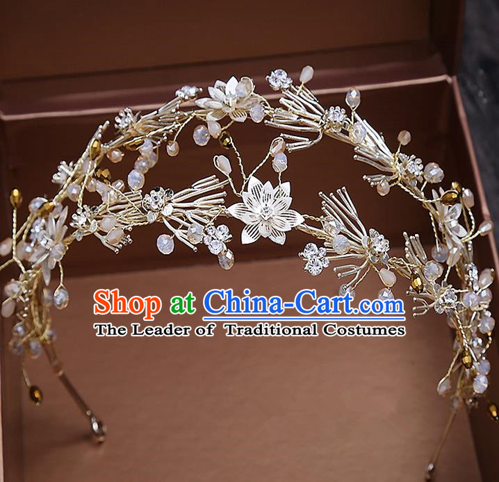 Top Grade Handmade Wedding Hair Accessories Bride Princess Hair Clasp, Traditional Baroque Queen Retro Royal Crown Wedding Headwear for Women