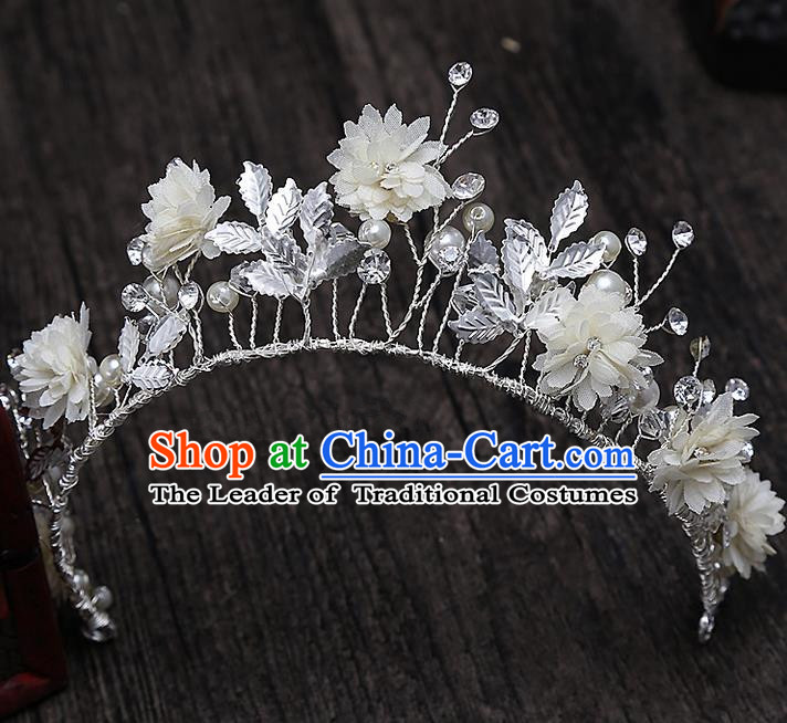 Top Grade Handmade Wedding Hair Accessories Bride Princess Flowers Hair Clasp, Traditional Baroque Queen Retro Royal Crown Wedding Headwear for Women