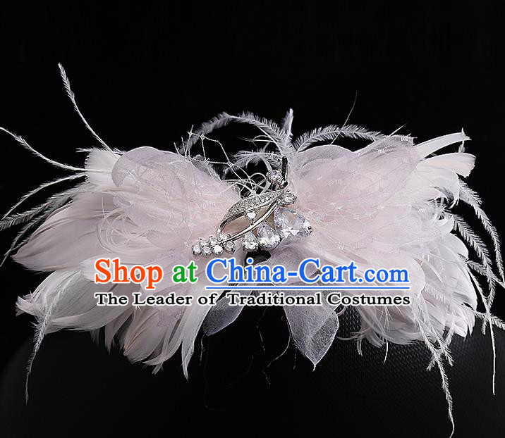 Top Grade Handmade Wedding Hair Accessories Bride Pink Feather Bowknot Hair Stick, Traditional Baroque Princess Headband Headpiece for Women