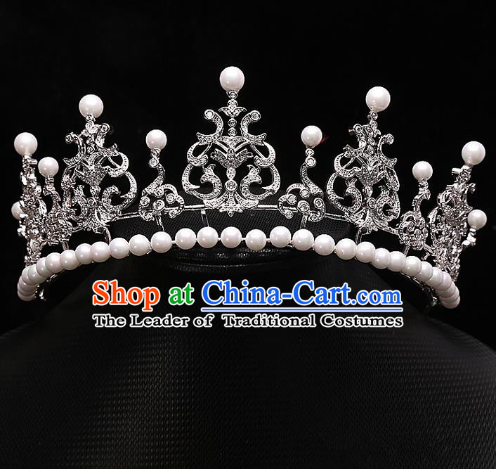 Top Grade Handmade Wedding Hair Accessories Bride Princess Zircon Imperial Crown, Traditional Baroque Queen Retro Pearl Royal Crown Wedding Headwear for Women