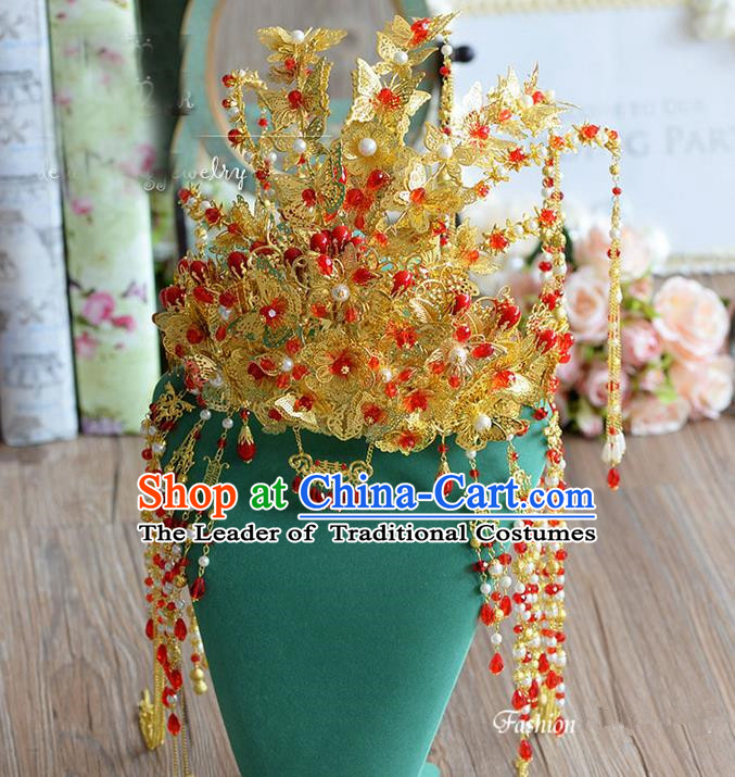 Top Grade Chinese Handmade Wedding Hair Accessories Phoenix Coronet, Traditional China Xiuhe Suit Bride Tassel Step Shake Headdress for Women