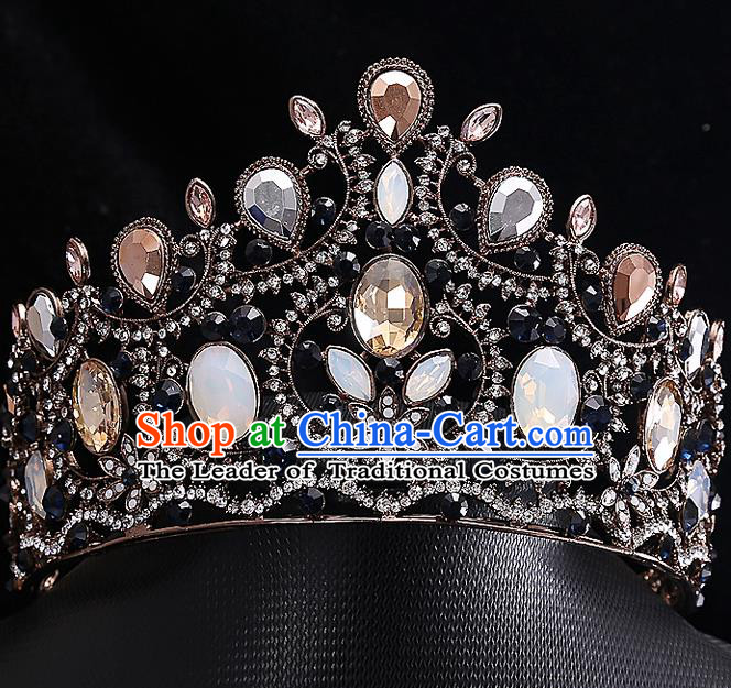 Top Grade Handmade Wedding Hair Accessories Bride Princess Opal Imperial Crown, Traditional Baroque Crystal Royal Crown Wedding Headwear for Women
