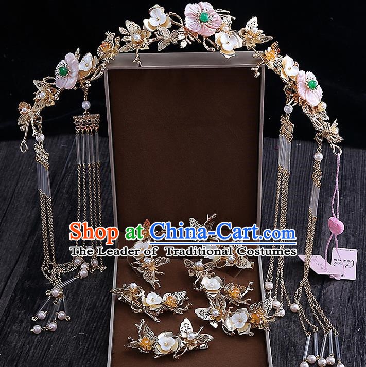 Top Grade Chinese Handmade Wedding Hair Accessories Complete Set, Traditional China Xiuhe Suit Bride Hairpins Phoenix Coronet Hanfu Tassel Step Shake Headdress for Women