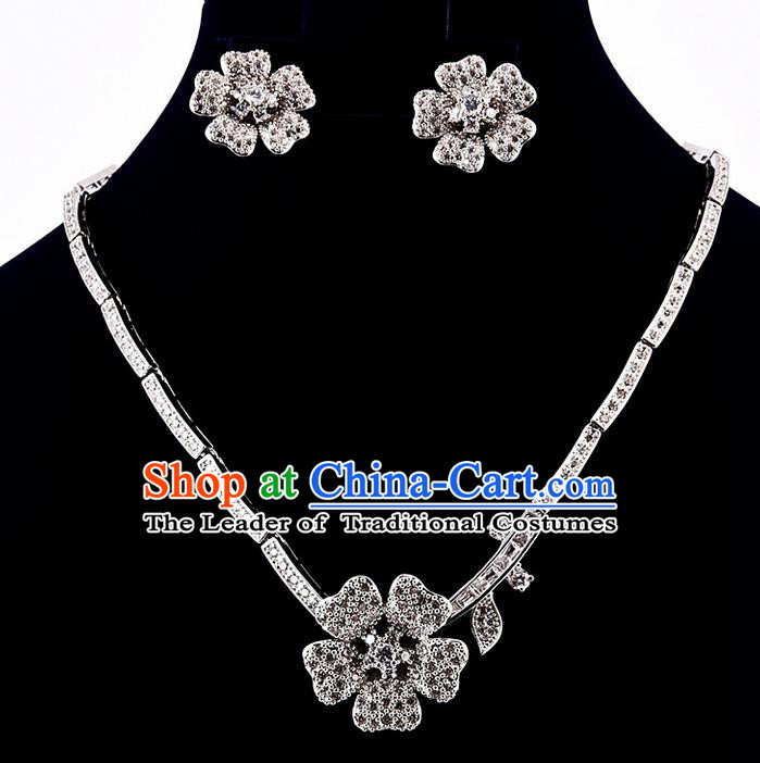 Top Grade Handmade China Wedding Bride Accessories Zircon Necklace and Earrings, Traditional Princess Diamante Wedding Torque Eardrop Jewelry for Women