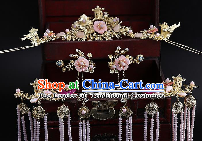 Top Grade Chinese Handmade Wedding Hair Accessories Golden Hairpins Complete Set, Traditional China Xiuhe Suit Bride Phoenix Coronet Hanfu Tassel Headdress Complete Set for Women
