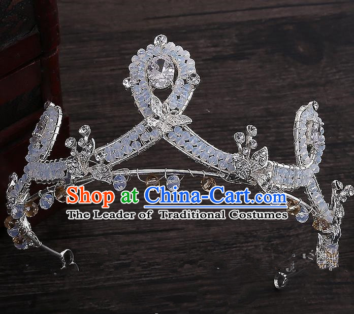 Top Grade Handmade Wedding Hair Accessories Bride Princess Crystal Imperial Crown, Traditional Baroque Zircon Royal Crown Wedding Headwear for Women