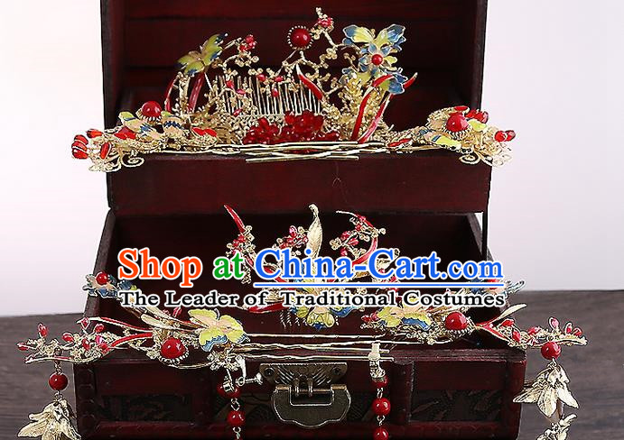 Top Grade Chinese Handmade Wedding Red Hair Accessories Hair Combs, Traditional China Xiuhe Suit Bride Phoenix Coronet Hairpins Complete Set for Women