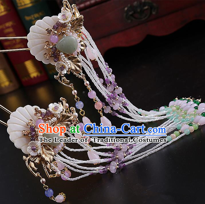 Top Grade Chinese Handmade Wedding Hair Accessories, Traditional China Xiuhe Suit Bride Hairpins Hanfu Long Tassel Step Shake Headdress for Women