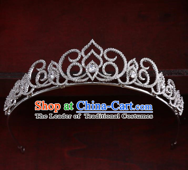 Top Grade Handmade Wedding Hair Accessories Bride Princess Zircon Imperial Crown, Traditional Baroque Crystal Royal Crown Wedding Headwear for Women