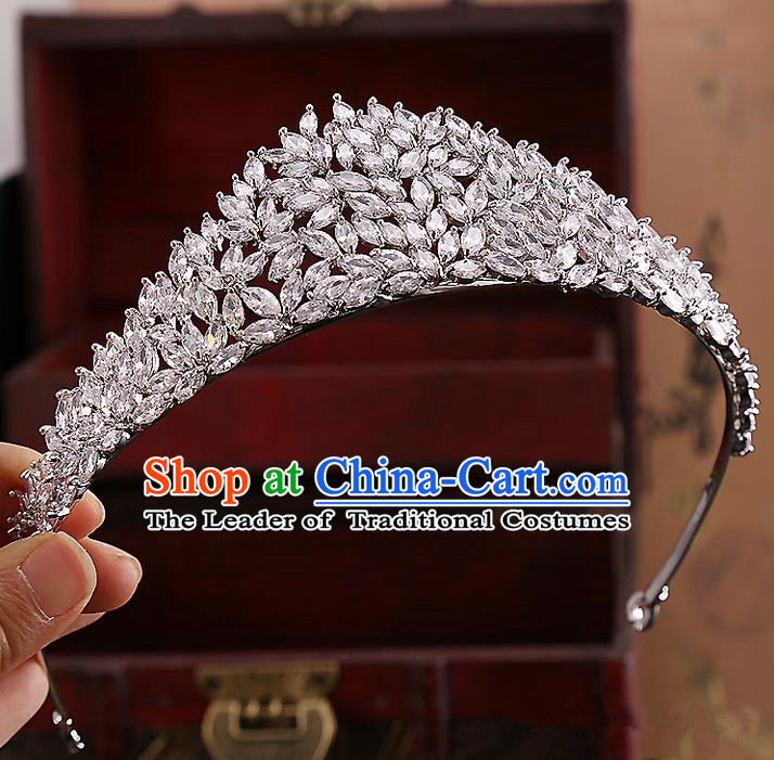 Top Grade Handmade Wedding Hair Accessories Bride Princess Zircon Imperial Crown, Traditional Baroque Diamante Crystal Royal Crown Wedding Headwear for Women