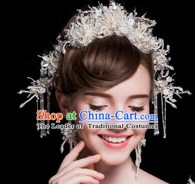 Top Grade Handmade Wedding Hair Accessories Bride Princess Pearl Imperial Crown and Earrings Complete Set, Traditional Baroque Royal Crown Wedding Headwear for Women