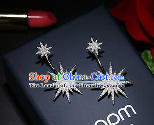 Top Grade Handmade China Wedding Bride Accessories Crystal Star Earrings, Traditional Princess Wedding Eardrop Jewelry for Women