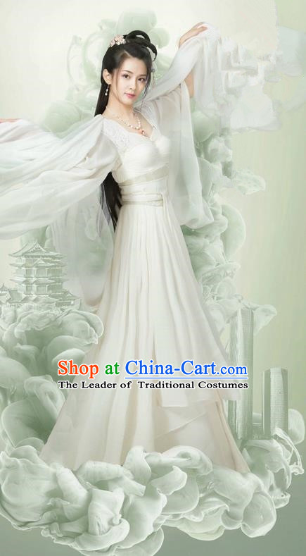 Traditional Ancient Chinese Young Lady Fairy Costume and Headpiece Complete Set, Chinese Ming Dynasty Swordswoman Princess Dress Clothing