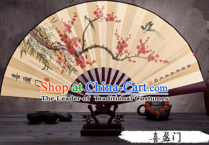 Traditional Chinese Ancient Peking Opera Accessories Scholar Ink Painting Plum Blossom Fan, Traditional Chinese Beijing Opera Young Men Props Folding Fans