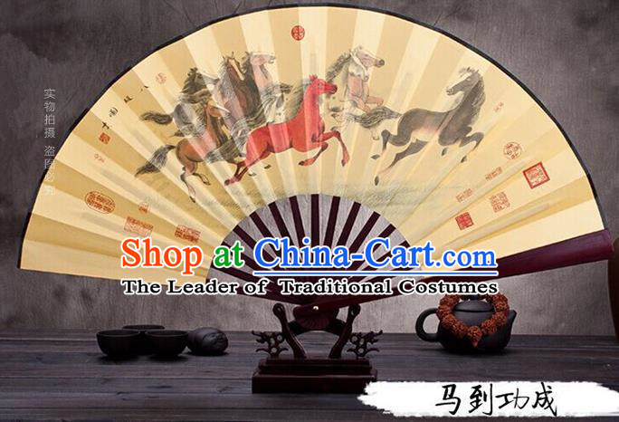 Traditional Chinese Ancient Peking Opera Accessories Scholar Ink Painting Horse Fan, Traditional Chinese Beijing Opera Young Men Props Folding Fans