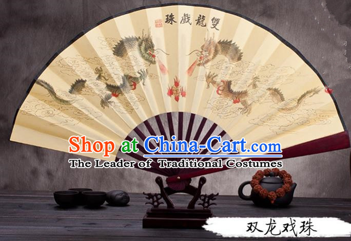 Traditional Chinese Ancient Peking Opera Accessories Scholar Ink Painting Dragon Fan, Traditional Chinese Beijing Opera Young Men Props Folding Fans
