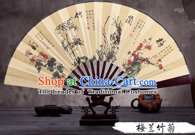 Traditional Chinese Ancient Peking Opera Accessories Scholar Ink Painting Plum Blossoms Orchid Bamboo and Chrysanthemum Fan, Traditional Chinese Beijing Opera Young Men Props Folding Fans