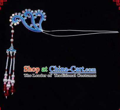Chinese Ancient Peking Opera Head Accessories Diva Long Tassel Kingfisher Hairpins, Traditional Chinese Beijing Opera Princess Hua Tan Hair Clasp Head-ornaments