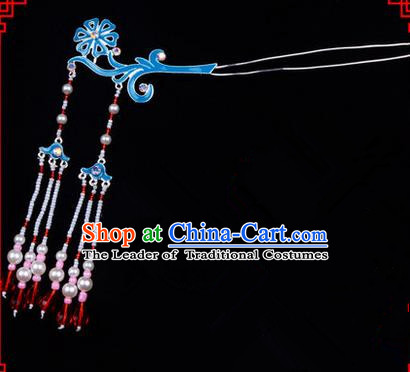 Chinese Ancient Peking Opera Head Accessories Diva Double Tassel Kingfisher Hairpins, Traditional Chinese Beijing Opera Princess Hua Tan Hair Clasp Head-ornaments