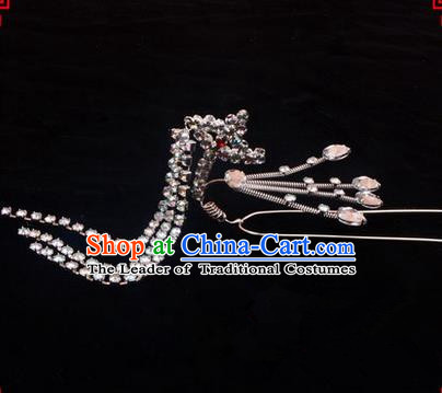 Chinese Ancient Peking Opera Head Accessories Diva Pink Crystal Hairpins Step Shake, Traditional Chinese Beijing Opera Princess Hua Tan Hair Clasp Head-ornaments