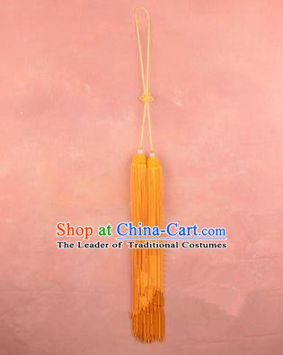 Traditional Chinese Ancient Peking Opera Taiji Sword Tassel, Traditional Chinese Beijing Opera Yellow Long Tassel Straightsword