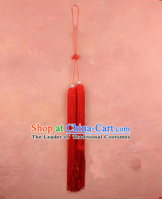 Traditional Chinese Ancient Peking Opera Taiji Sword Tassel, Traditional Chinese Beijing Opera Red Long Tassel Straightsword