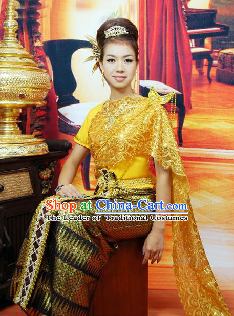 Traditional Traditional Thailand Female Clothing, Southeast Asia Thai Ancient Costumes Sari Dress for Women