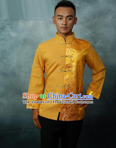 Traditional Traditional Thailand Male Clothing, Southeast Asia Thai Ancient Costumes Dai Nationality Golden Blouse for Men