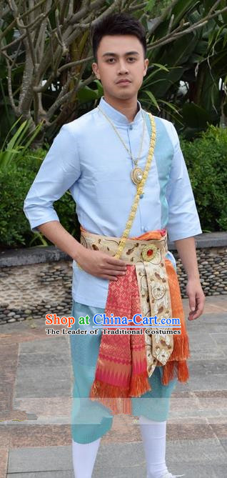 Traditional Traditional Thailand Male Clothing, Southeast Asia Thai Ancient Costumes Dai Nationality Blue Shirt and Pants for Men