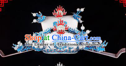 Traditional Chinese Ancient Peking Opera Accessories Prime Minister Hat, Traditional Chinese Beijing Opera Grand Councilor Headwear White Helmet Crown