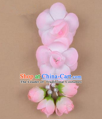 Chinese Ancient Peking Opera Hair Accessories Diva Temple White Pink Flowers Hairpins, Traditional Chinese Beijing Opera Princess Hua Tan Hair Clasp Head-ornaments