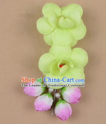 Chinese Ancient Peking Opera Hair Accessories Diva Temple Green Flowers Hairpins, Traditional Chinese Beijing Opera Princess Hua Tan Hair Clasp Head-ornaments