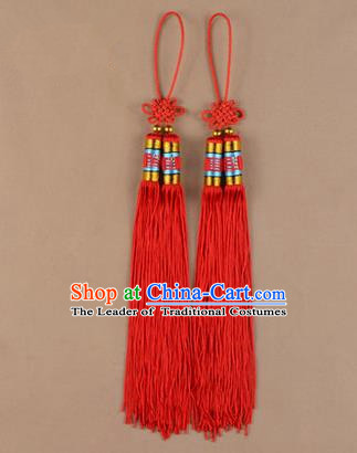 Traditional Chinese Ancient Peking Opera Taiji Sword Tassel, Traditional Chinese Beijing Opera Red Long Tassel Straightsword Hat Tassels