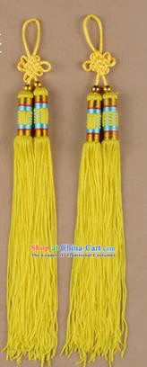 Traditional Chinese Ancient Peking Opera Taiji Sword Tassel, Traditional Chinese Beijing Opera Yellow Long Tassel Straightsword Hat Tassels