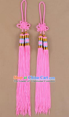 Traditional Chinese Ancient Peking Opera Taiji Sword Tassel, Traditional Chinese Beijing Opera Pink Long Tassel Straightsword Hat Tassels