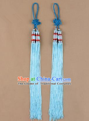 Traditional Chinese Ancient Peking Opera Taiji Sword Tassel, Traditional Chinese Beijing Opera Light Blue Long Tassel Straightsword Hat Tassels