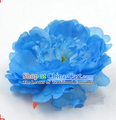Top Grade Chinese Ancient Peking Opera Hair Accessories Diva Blue Peony Hairpins, Traditional Chinese Beijing Opera Hua Tan Hair Clasp Head-ornaments