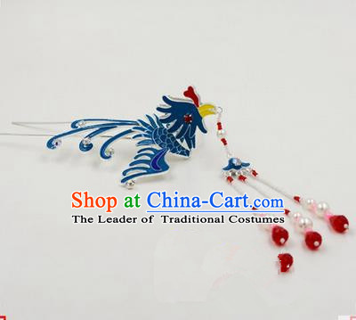 Top Grade Chinese Ancient Peking Opera Hair Accessories Diva Hairpins Phoenix Step Shake, Traditional Chinese Beijing Opera Hua Tan Hair Clasp Head-ornaments