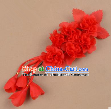 Top Grade Chinese Ancient Peking Opera Hair Accessories Diva Crystal Temple Red Jasmine Flowers Hairpins, Traditional Chinese Beijing Opera Hua Tan Hair Clasp Head-ornaments