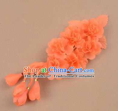 Top Grade Chinese Ancient Peking Opera Hair Accessories Diva Crystal Temple Orange Jasmine Flowers Hairpins, Traditional Chinese Beijing Opera Hua Tan Hair Clasp Head-ornaments