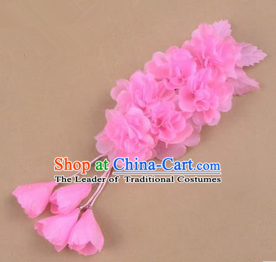 Top Grade Chinese Ancient Peking Opera Hair Accessories Diva Crystal Temple Pink Jasmine Flowers Hairpins, Traditional Chinese Beijing Opera Hua Tan Hair Clasp Head-ornaments