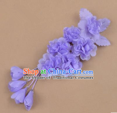 Top Grade Chinese Ancient Peking Opera Hair Accessories Diva Crystal Temple Purple Jasmine Flowers Hairpins, Traditional Chinese Beijing Opera Hua Tan Hair Clasp Head-ornaments