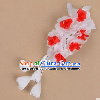 Top Grade Chinese Ancient Peking Opera Hair Accessories Diva Crystal Temple White Jasmine Flowers Hairpins, Traditional Chinese Beijing Opera Hua Tan Hair Clasp Head-ornaments
