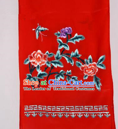 Top Grade Chinese Ancient Peking Opera Accessories Diva Embroidered Belts, Traditional Chinese Beijing Opera Hua Tan Red Waist Towel