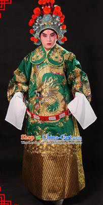 Traditional Chinese Beijing Opera Emperor Clothing and Headwear Complete Set, China Peking Opera His Royal Highness Embroidered Dragon Robe Green Opera Costumes