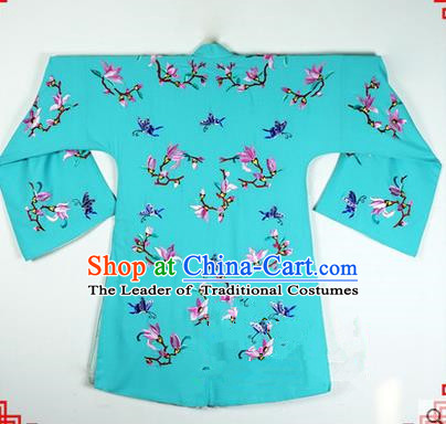 Traditional Chinese Beijing Opera Shaoxing Opera Young Lady Clothing, China Peking Opera Diva Role Hua Tan Costume Embroidered Magnolia Robe Green Opera Costumes