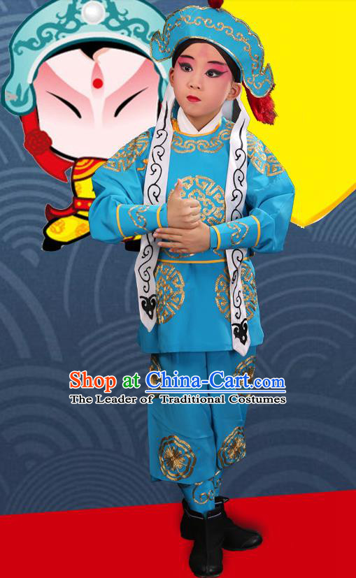 Traditional Chinese Beijing Opera Children Martial Blue Clothing, China Peking Opera Wu Sheng Costumes and Shoes Complete Set for Kids