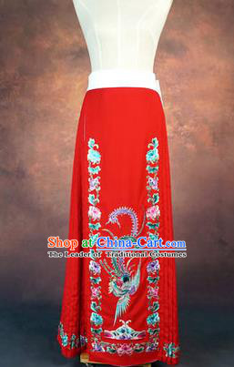 Traditional Chinese Beijing Opera Servant Girl Red Dress, China Peking Opera Young Lady Costume Embroidered Opera Skirt
